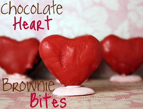 Chocolate Heart Brownie Bites | Brownie Recipes | Pinterest