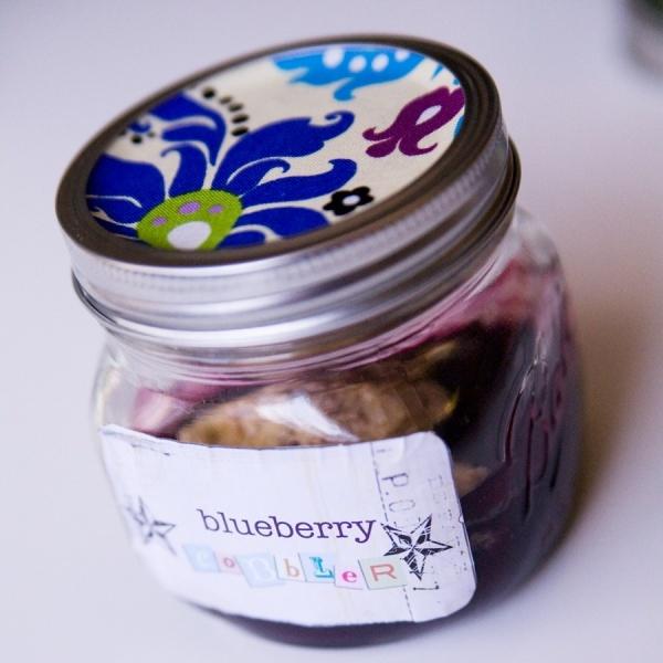 blueberry cobbler in a jar.   words   Pinterest