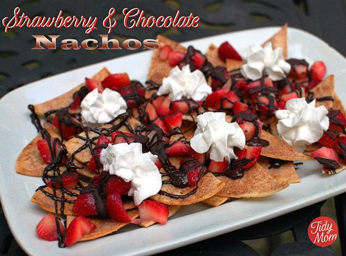 Chocolate  Strawberry Dessert Nachos  at TidyMom.net #ValentinesDay