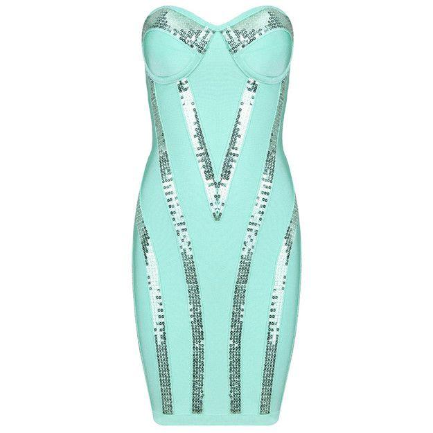 Buy $228.33 Michaela Aqua Sequin Strapless Bandage Dress Turquoise HL533,Cheap Herve Leger Strapless Dress On Sale Uk Free Shipping! ($228.00) - Svpply