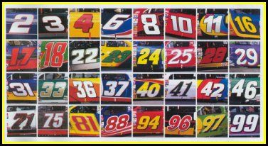 nascar car numbers with drivers