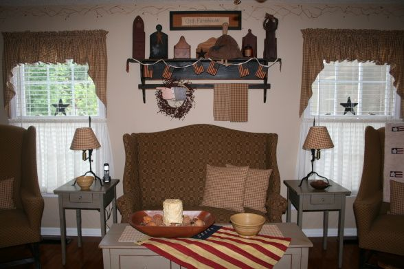 Primitive living room updated home decor pinterest for Primitive country living room curtains