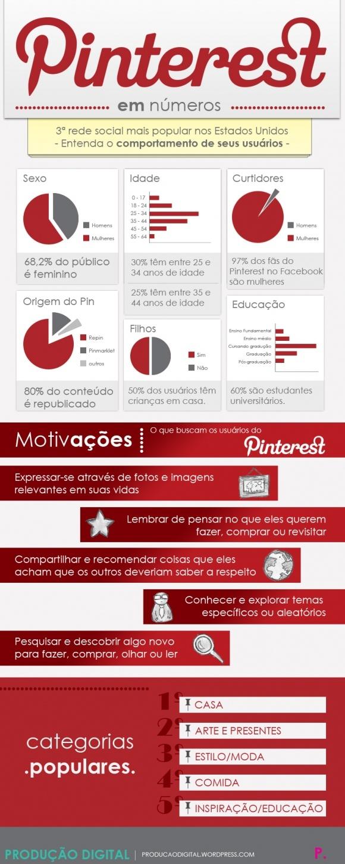 #infografico em português -  Comportamento dos usuários no Pinterest