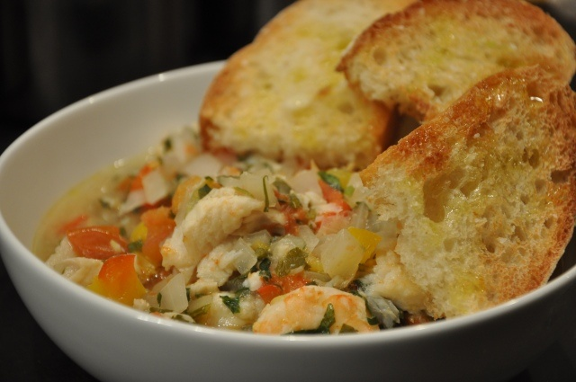 Brazilian seafood stew and Spanish style garlic toast. Delicious!