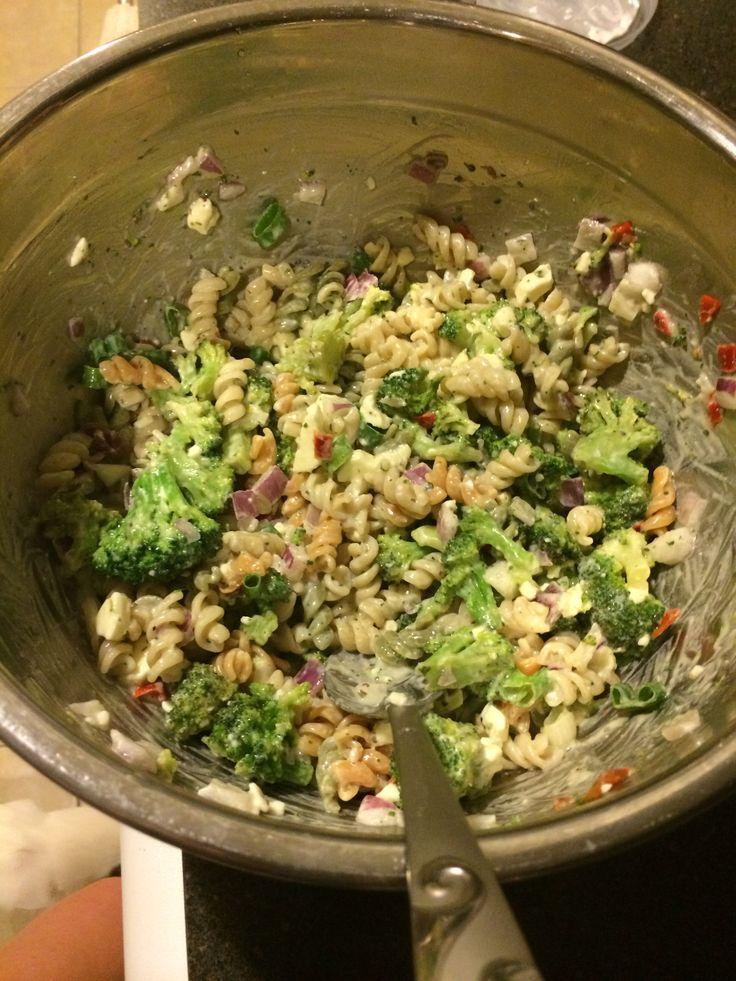 CREAMY FETA AND BROCCOLI PASTA SALAD ! red onion, scallions, broccoli ...