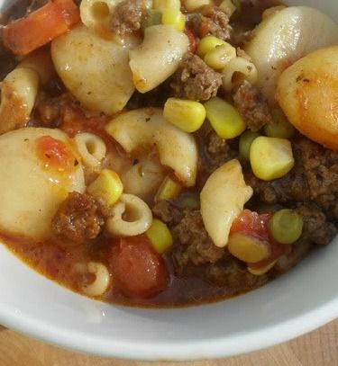 hamburger vegetable soup- use low sodium sauce and broth