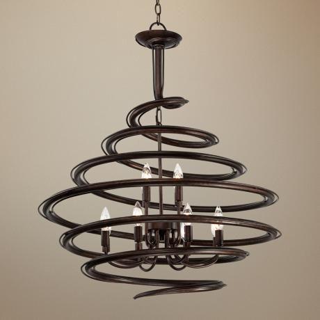 franklin iron works bronze 30 3 4 wide swirl chandelier lampsplus. Black Bedroom Furniture Sets. Home Design Ideas