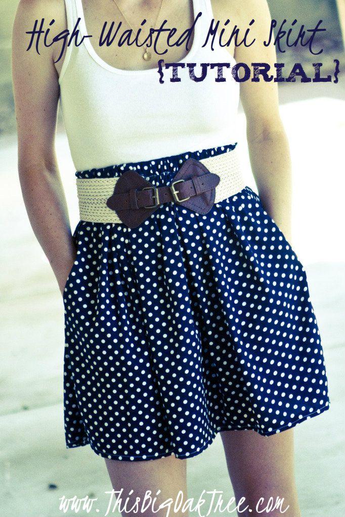 high waisted mini skirt tutorial sewing
