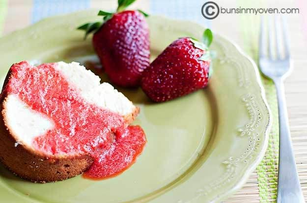 Cream Cheese Pound Cake with Strawberry Coulis.