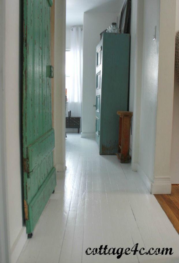 Painted white wood floors for Best paint for wooden floors