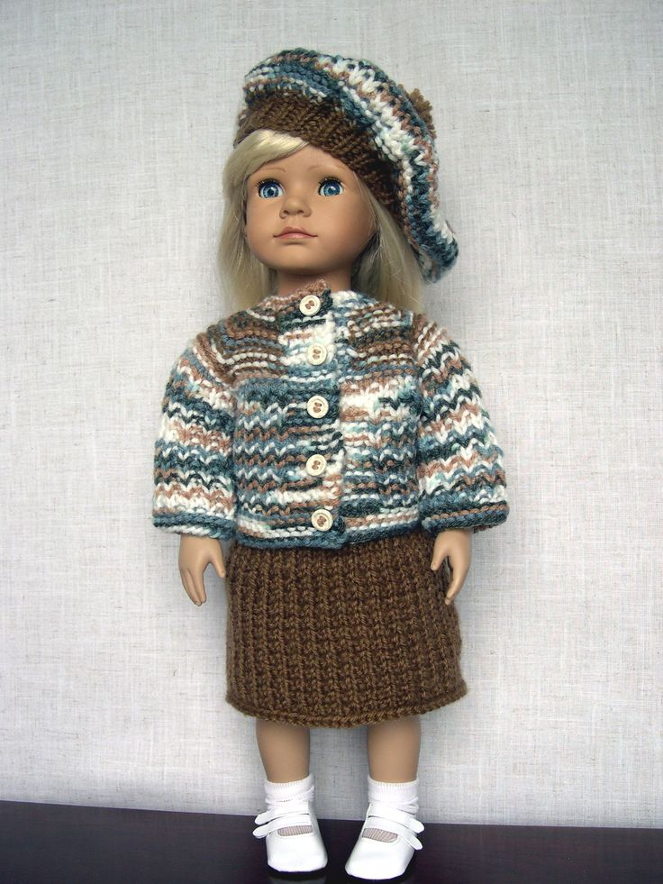 Free Knitting Patterns For Doll Clothes 18 Ins : Pin by Helen Michael on american girl doll knitting cardigans Pinte?
