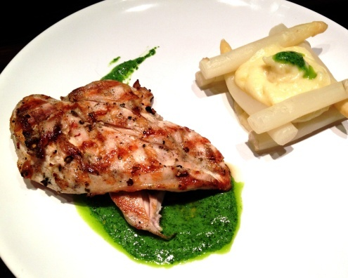 "detox"" - grilled chicken breast with sauce of wild garlic, basil ..."