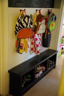 wall organizer, coat hanger, back pack and shoe organizer, mud room