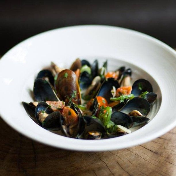 Tequila Mussels with garlic, chile serrano, tomato, cilantro, lime and ...