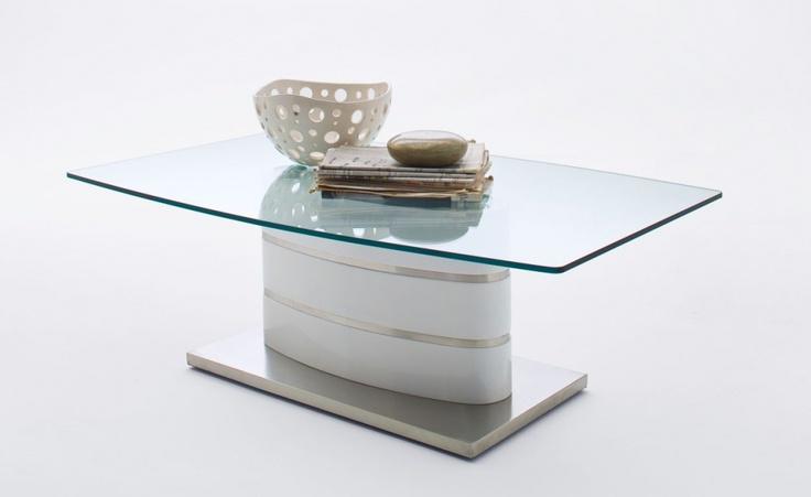 BRADY Couchtisch Glas/Hochglanz weiß/Edelstahleinlagen