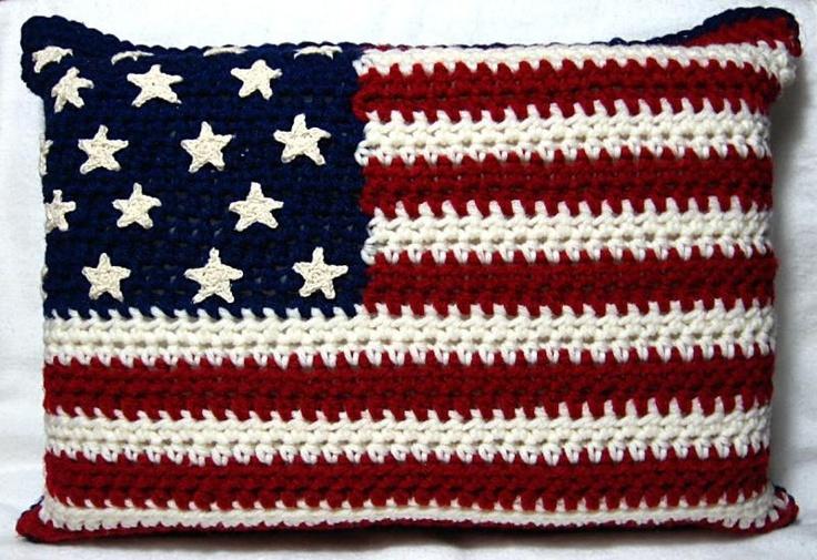 Free Crochet Pattern Of American Flag : Americana Pillow Crochet Pattern Crochet Pillows, House ...