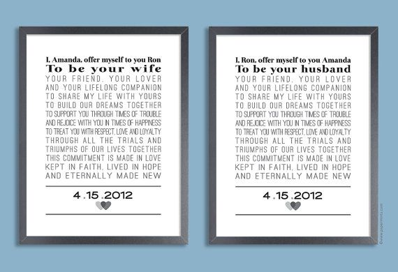 Anniversary Gift Custom Wedding Vows by papermintsshop on Etsy