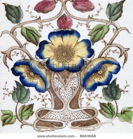 An Art Nouveau Original Tile Dating Around 1890 With Flower Design
