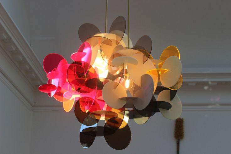 Vibeke Fonnesberg Schmidt's Plexiglas & Brass Chandeliers