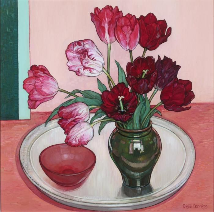 Criss Canning (b.1947) — Tulips from my Garden (700x694)