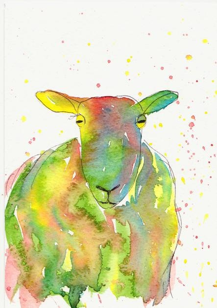 bright colourful sheep original watercolour painting