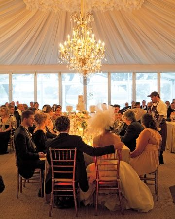 This tent's dramatic fabric ceiling was inspired by the draping on the bride's dress