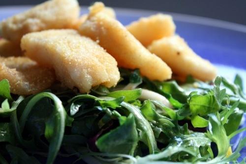 Cornmeal-Crusted Catfish on Mixed Greens | Elephant Eats Recipes | Pi ...