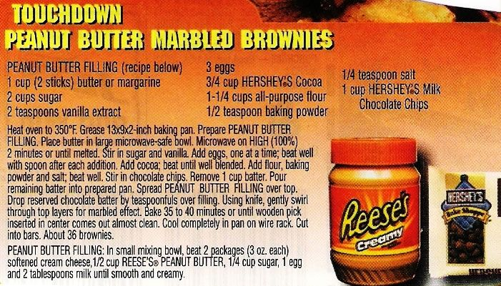 Touchdown Peanut Butter Marbled Brownies-Enlarge image to see recipe ...