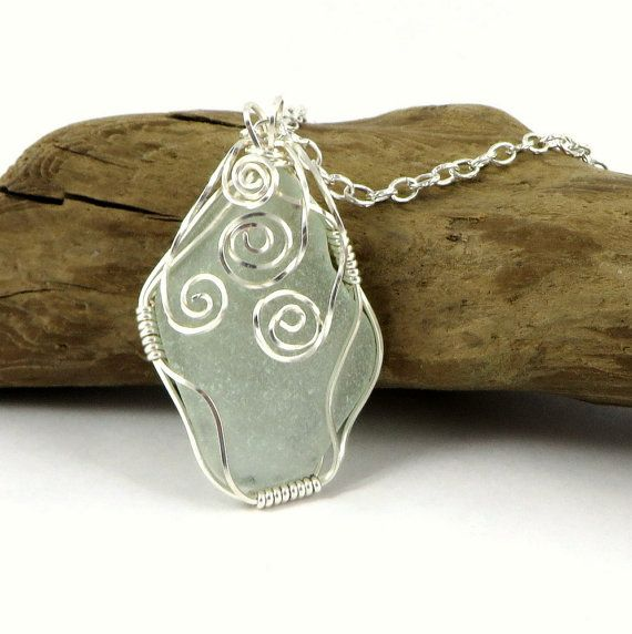 Sea Glass Necklace Wire Wrapped