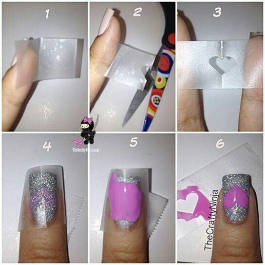 Using scotch tape to create nail designs | HAIR & BEAUTY | Pinterest