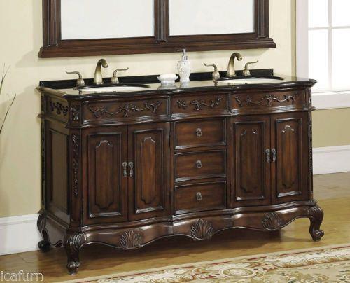 61 Inch Double Sink Bathroom Vanity With Granite Top Item 8304