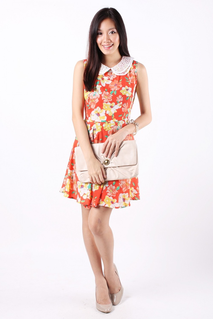 Unique  Floral Belted Dress For Women  White  For Women Style And Fashion