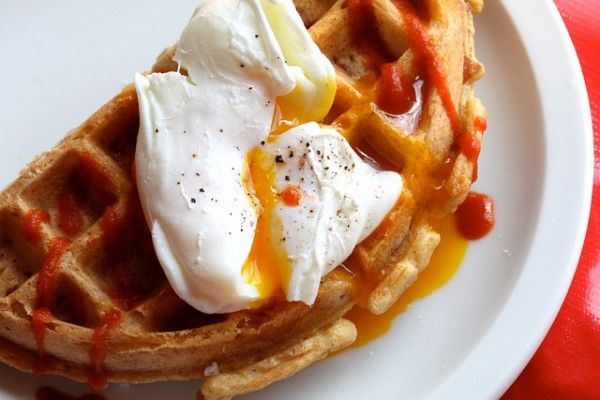 cornmeal ham and cheese waffle. i'm making mine with bacon and cheddar ...
