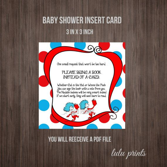 thing 1 and thing 2 baby shower printable insert card or birthday