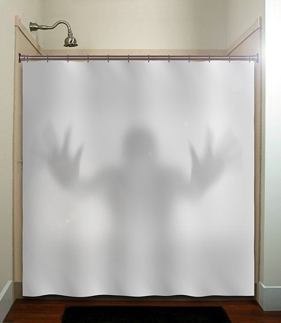 Halloween gray scary ghost shower curtain