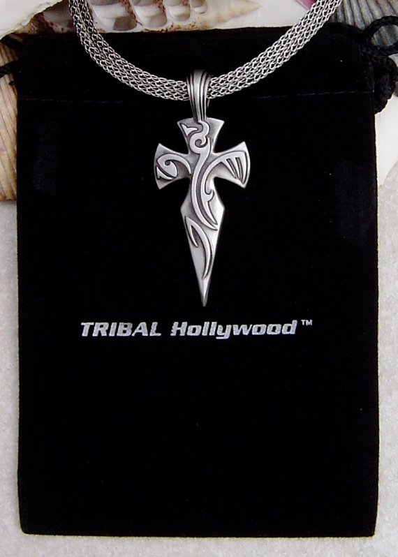 Tribal Hollywood Sancti Crusaders Tattoo Cross Necklace