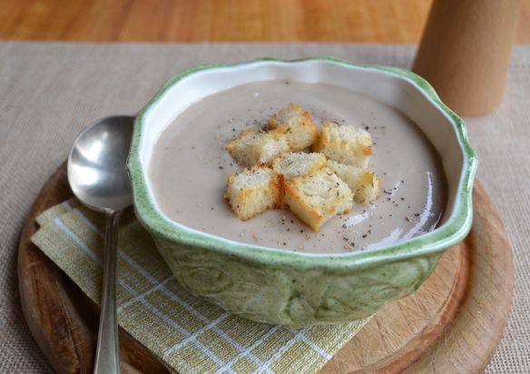 Roasted cauliflower, potato and chestnut soup. With home-made ...