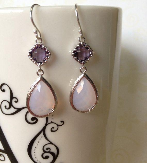 Moonstone Glass Earring Bridal Gift Wedding By MaimodaJewelry 2800 Esty