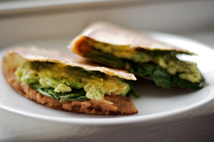 ... rice tortilla, fat free spicy refried beans, spinach and avocado