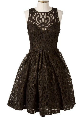 Frock by Tracy Reese - black goldfoil dress.