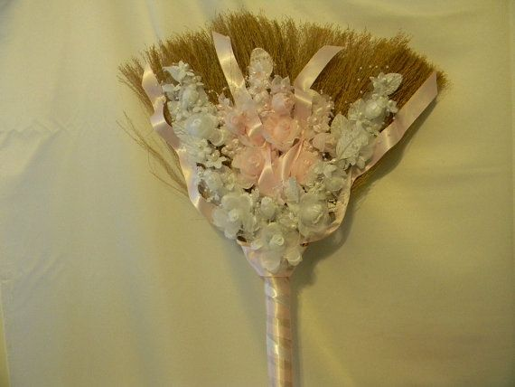 wedding jumping broom custom made your colors and decor shown pink wh