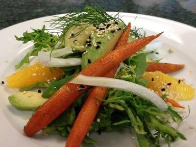 Roasted Carrot Avocado Fennel and Orange Salad