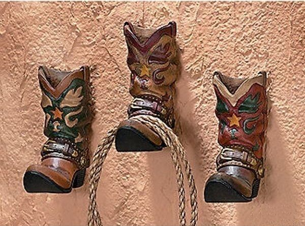 3 Western Cowboy Boot Hooks Home Decor