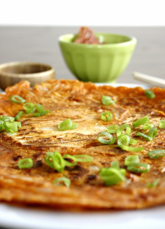 Kimchi pancake-add scallions and seafood | Veggies | Pinterest