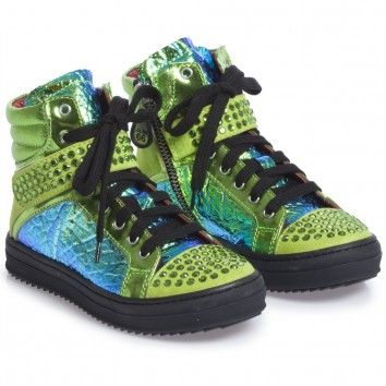 Green Studded High Top Trainers