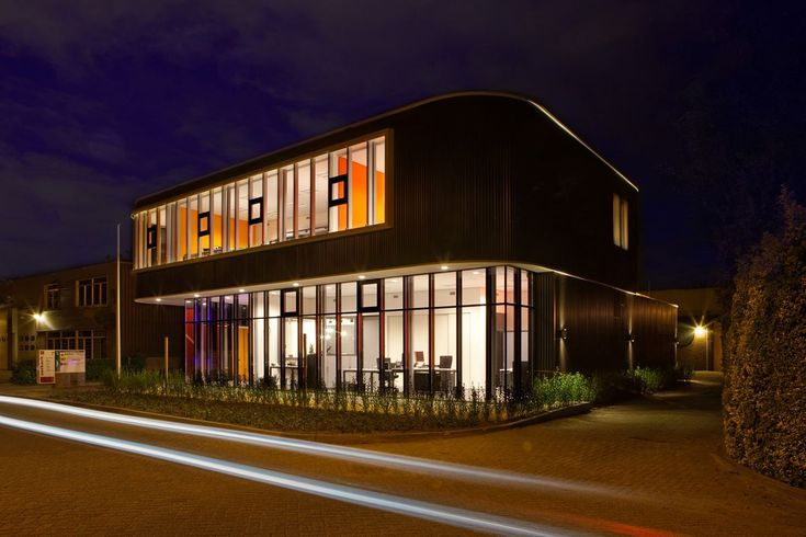 Modern small office buildings night unique by design for Modern office building design