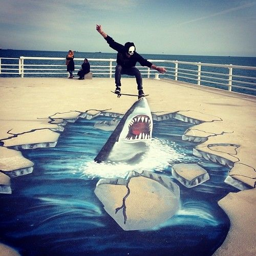 skateboaring with a shark