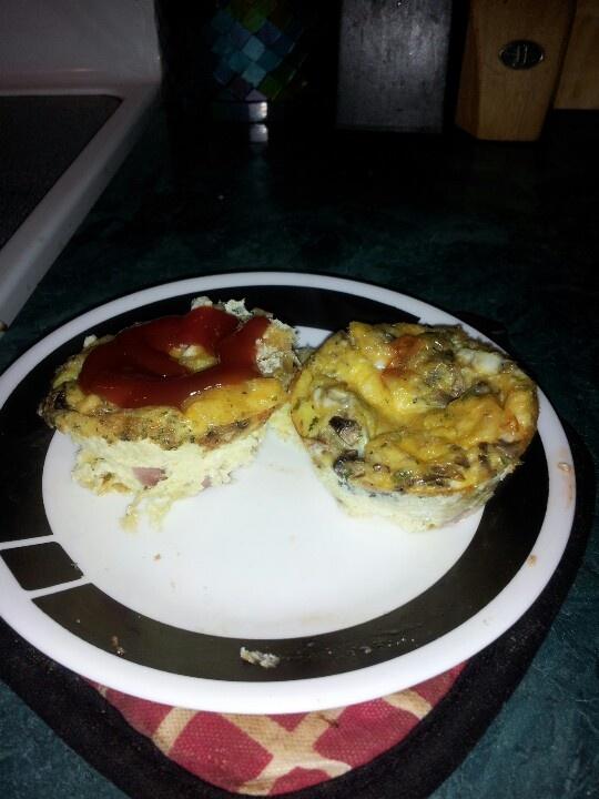 "my ham, cheese, mushroom, herb scrambled egg ""muffins"" baked in the..."