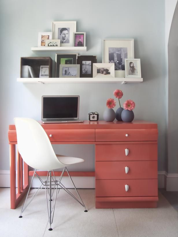 Sprucing up your home office? Try Pink Grapefruit paint on the desk for an unexpected color jolt. (http://www.hgtv.com/designers-portfolio/room/contemporary/home-offices/7005/index.html/?soc=Pinterest)