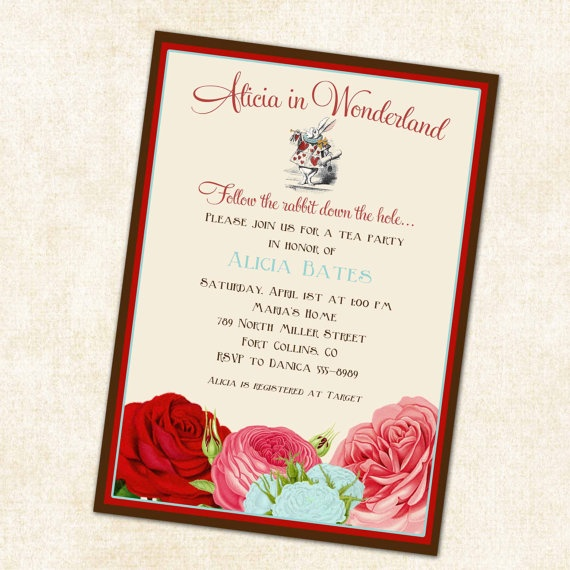 alice in wonderland theme baby shower invitations digital printabl